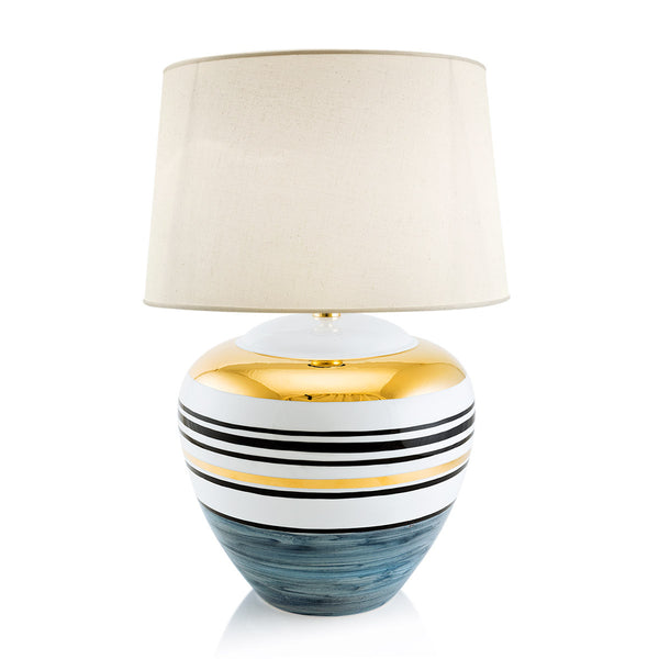 Ceramic round table lamp with gold accents | Spinning top