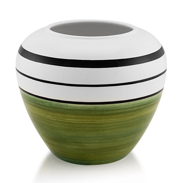 Ceramic round vase green color | Spinning top