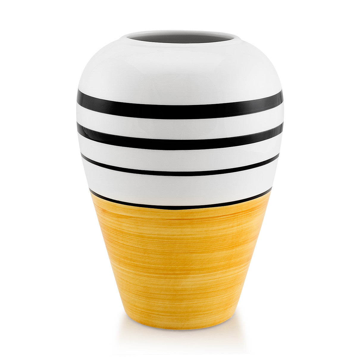 Ceramic modern vase yellow color, black lines, handmade pottery