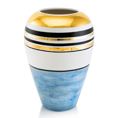 Ceramic round vase with gold accents | Spinning top