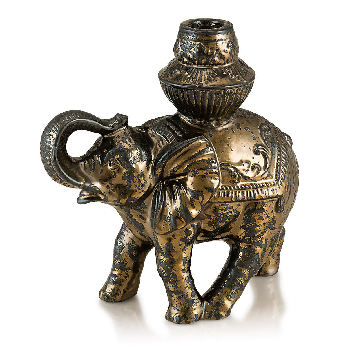 Ceramic elephant candle holder in burnished bronze finish
