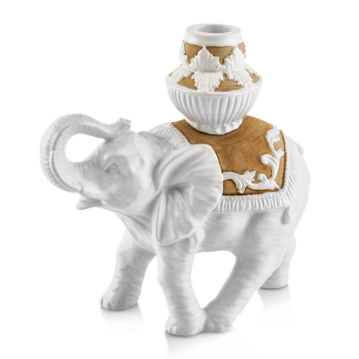 caparisoned elephant candle holder ceramic porcelain in white glaze and finished in brown natural color
