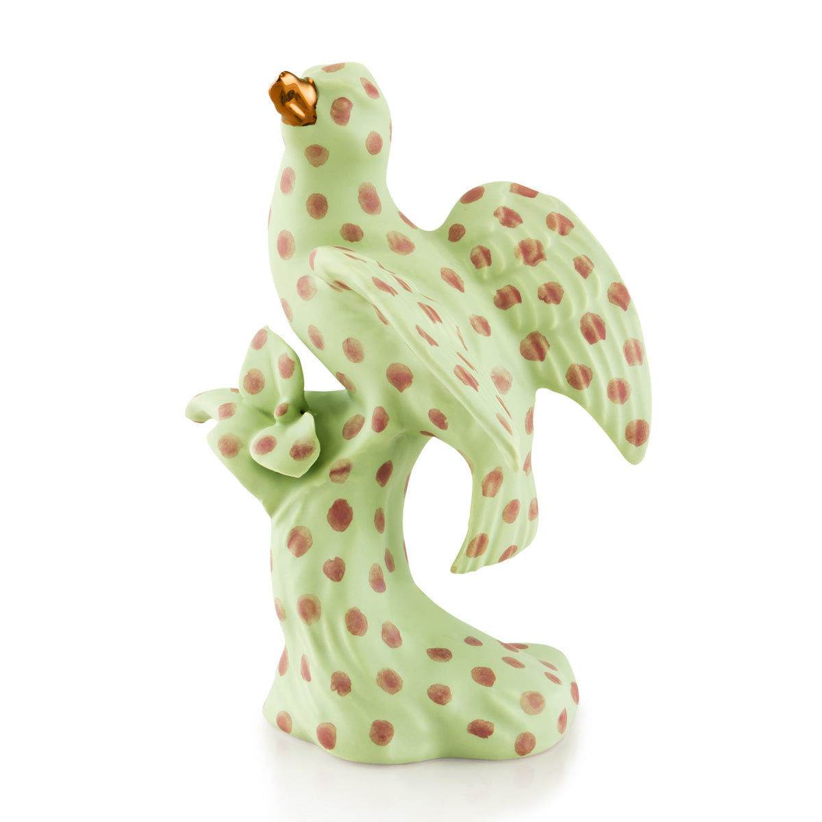 Ceramic bird eating a berry - polka dots