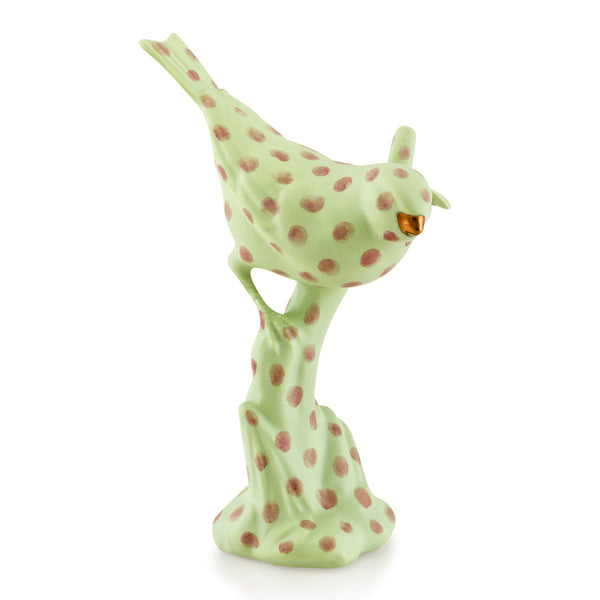 Ceramic curious bird - polka dots