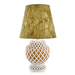 ceramic table lamps | white and brown openwork lamp