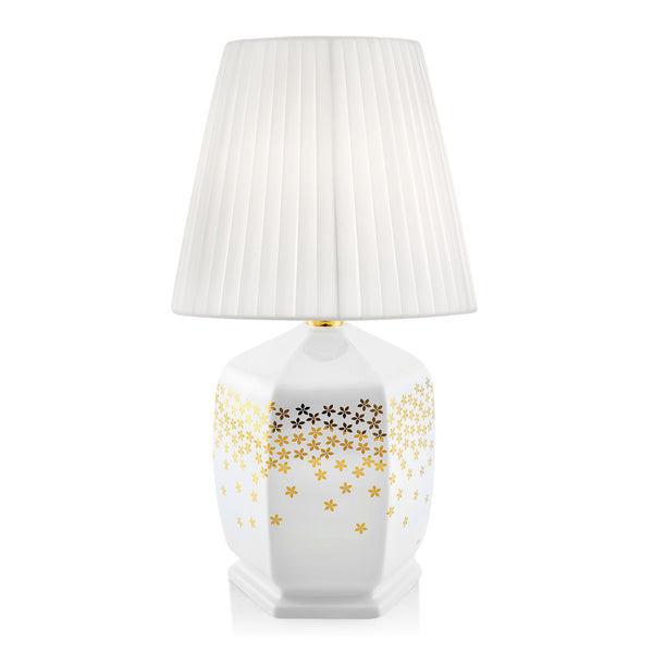 Ceramic table lamp with gold flowers | Yurta