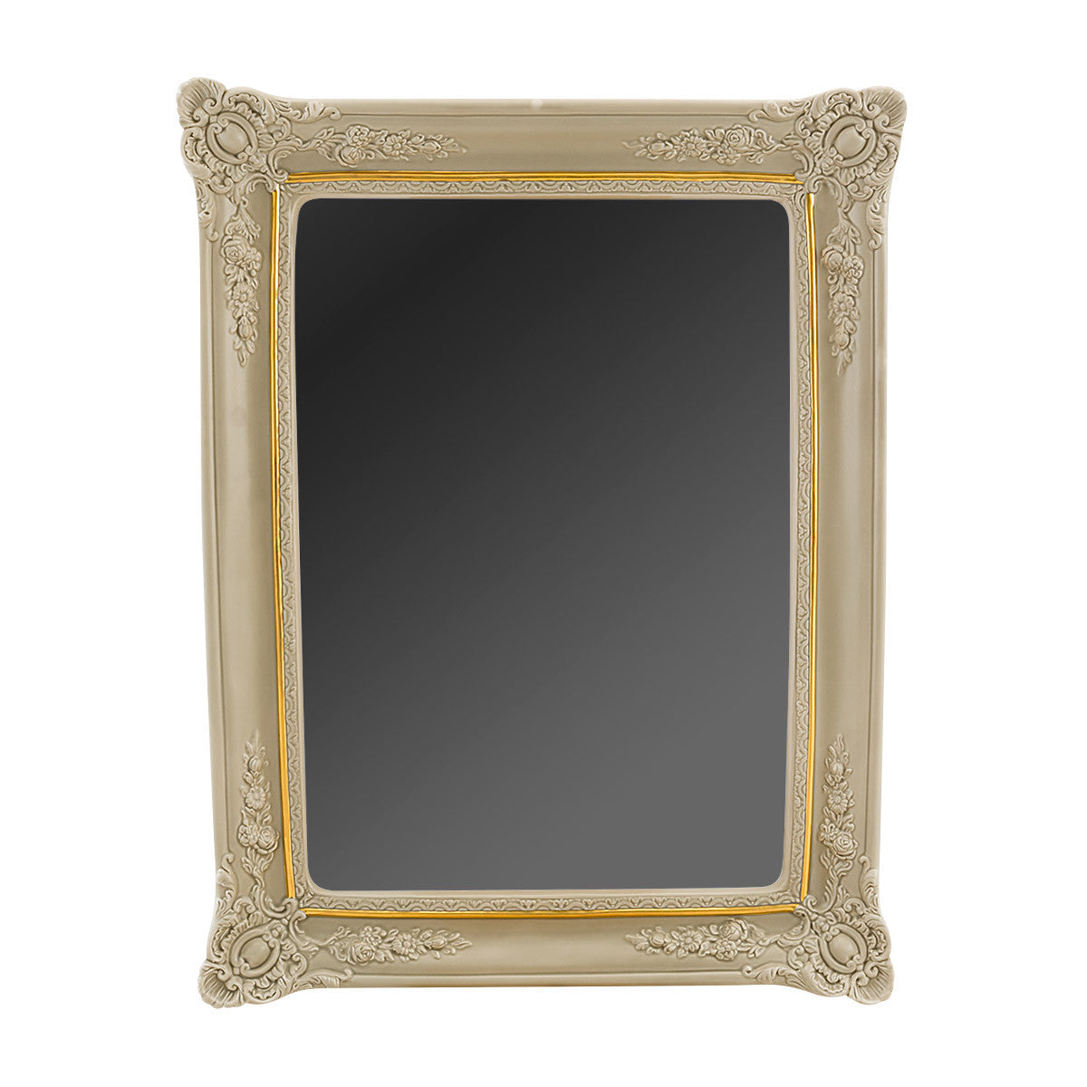 Gold grey mirror frame with reliefs italian ceramic porcelain