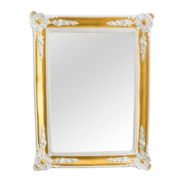 Gold mirror frame with reliefs italian ceramic porcelain