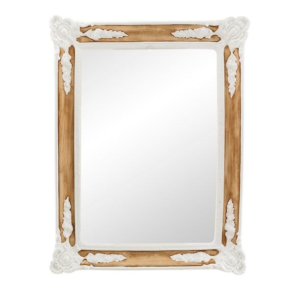 ceramic porcelain mirror frame with reliefs in white glaze and finished in brown natural color with special painterly effect