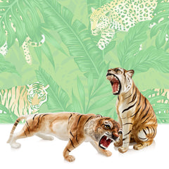 Ceramic roaring tigers