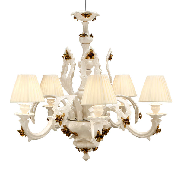 Ceramic chandelier with bronze accents-Entryway chandelier-Home lighting