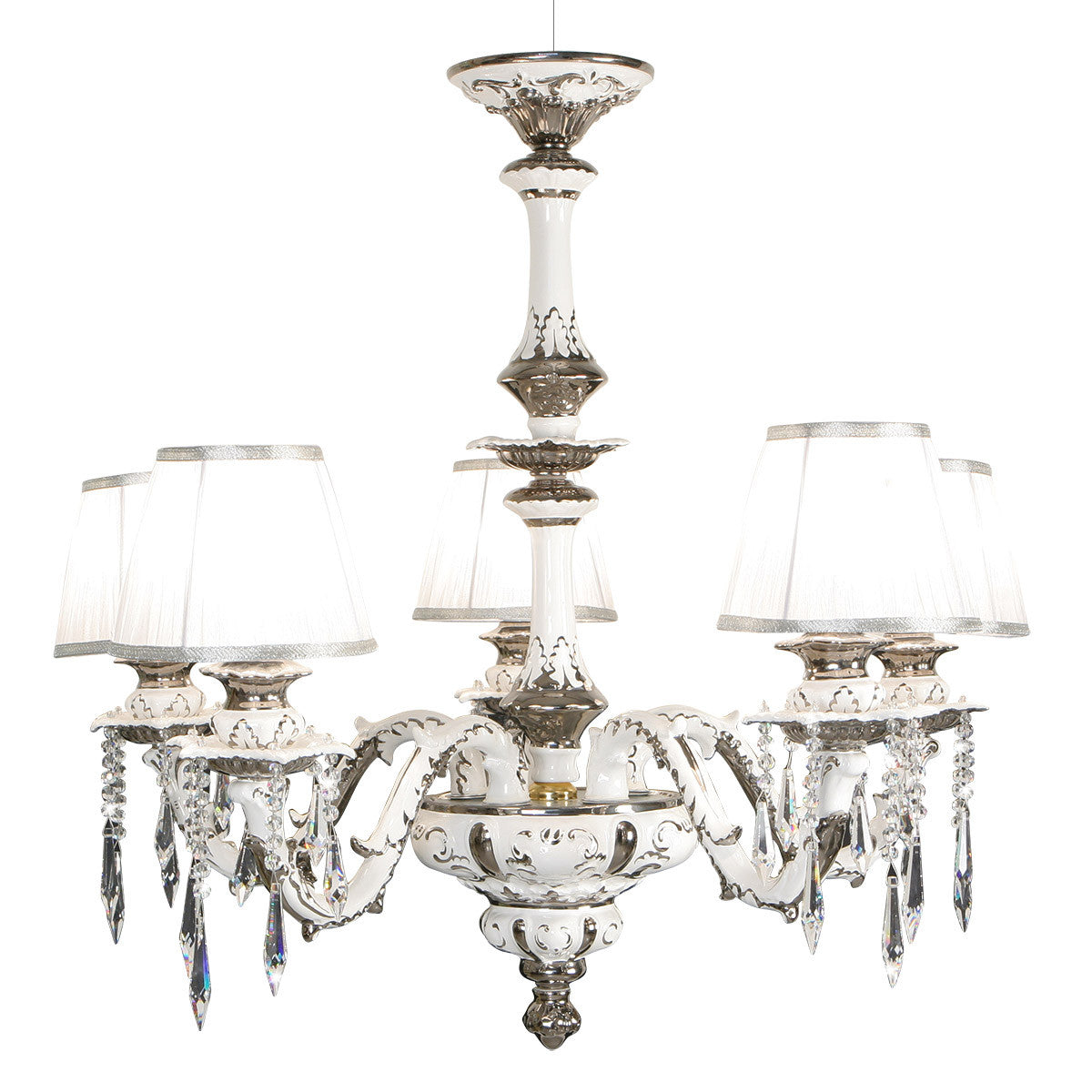 Ceramic chandelier with touches of platinum | Les Petit - Home lighting