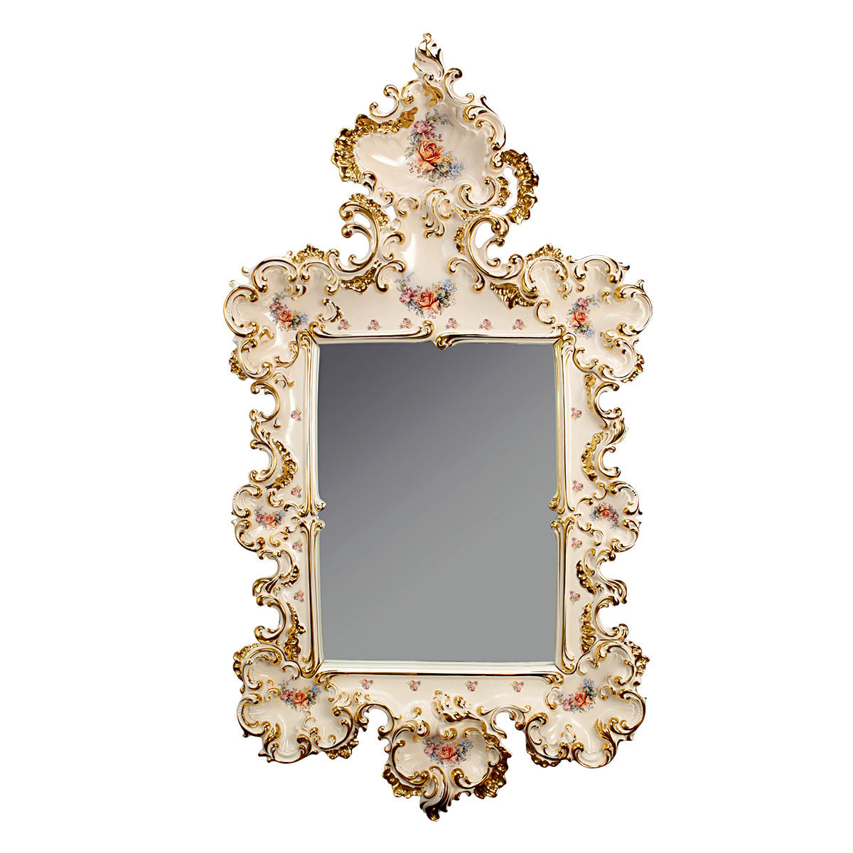 ceramic porcelain ivory big baroque mirror finished in pure gold and floral design handmade in Italy