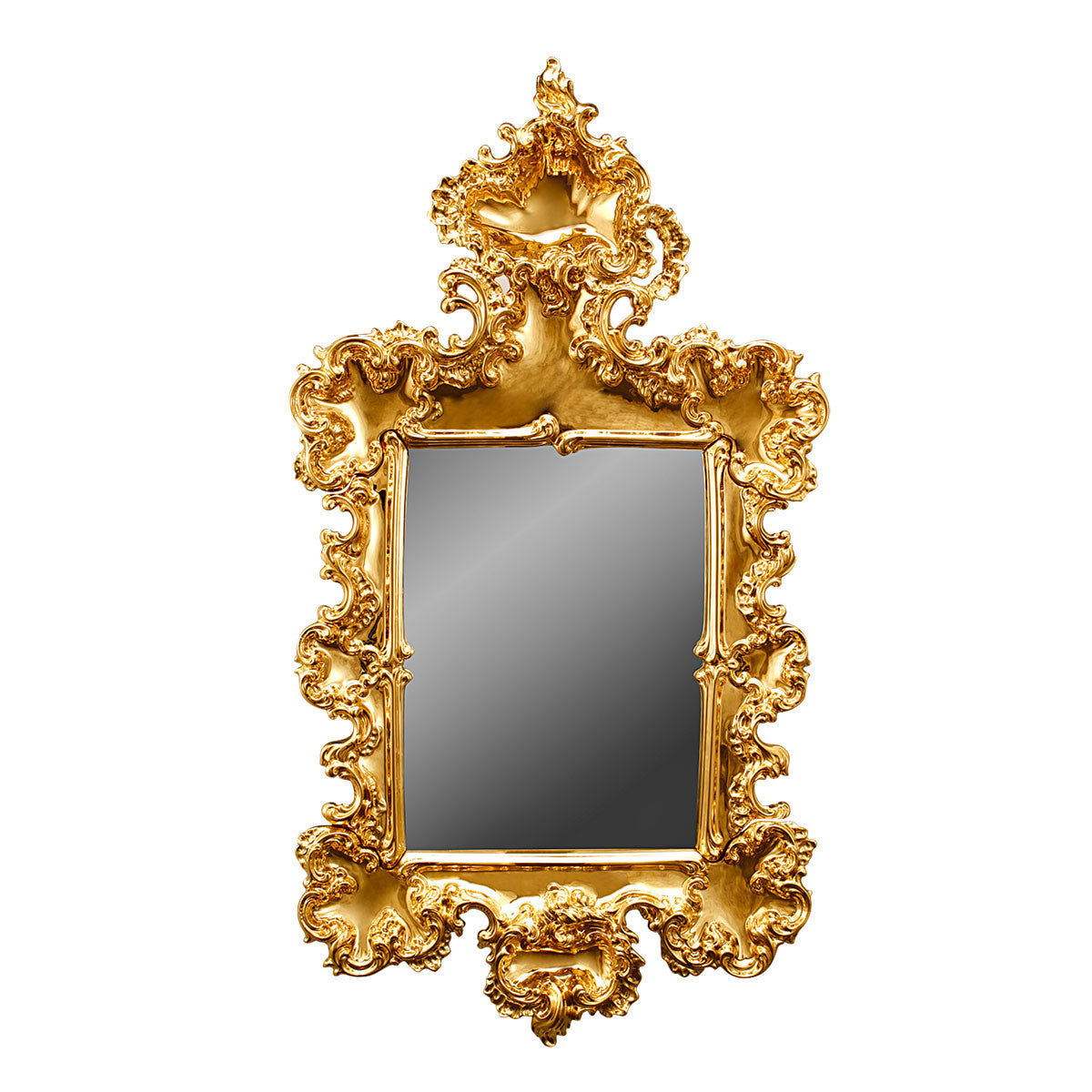 Ceramic large carved mirror with gold finish