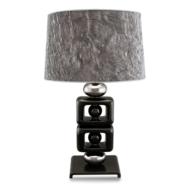 Open square black ceramic table lamp