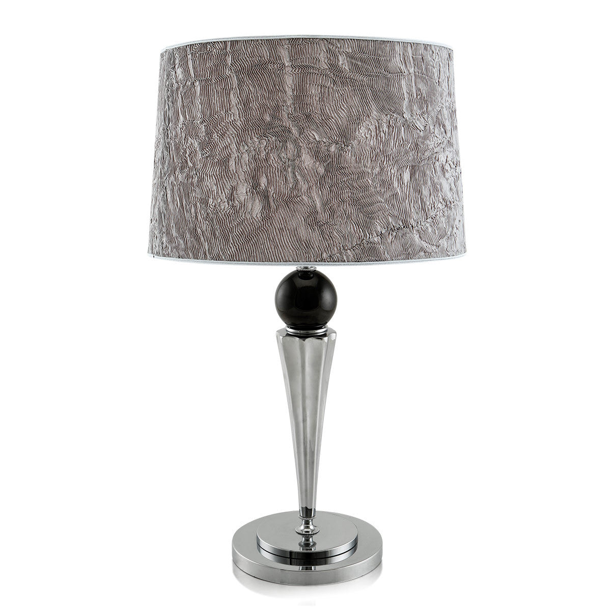 Table Lamp | Honduras in silver metal with black glass sphere.