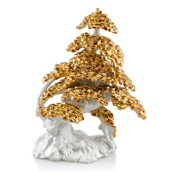 Ceramic Shakan bonsai in pure gold