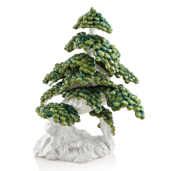 Ceramic Porcelain Bonsai Shakan finished in green colors