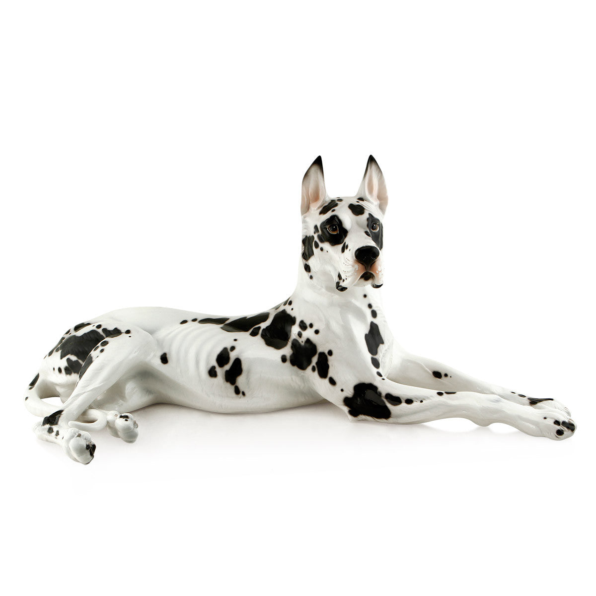 lying great dane hand-painted ceramic porcelain finished in traditional color