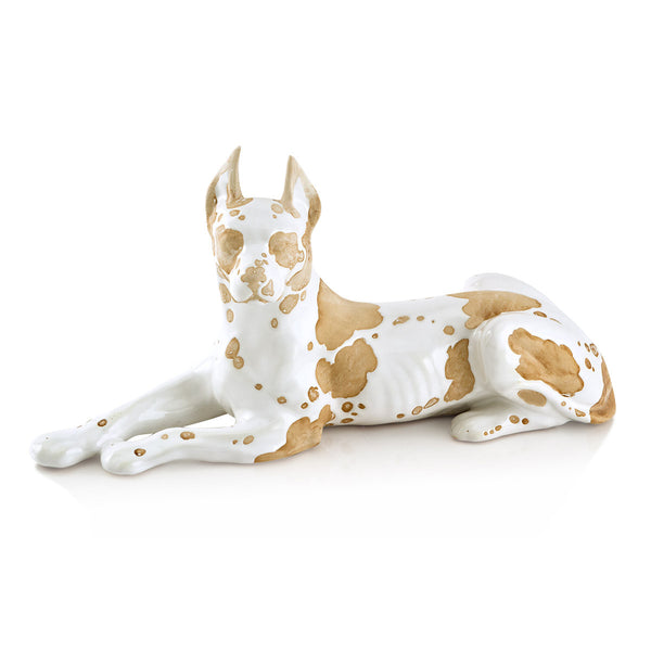 Hand-painted ceramic porcelain lying great dane in white glaze and finished in brown natural color