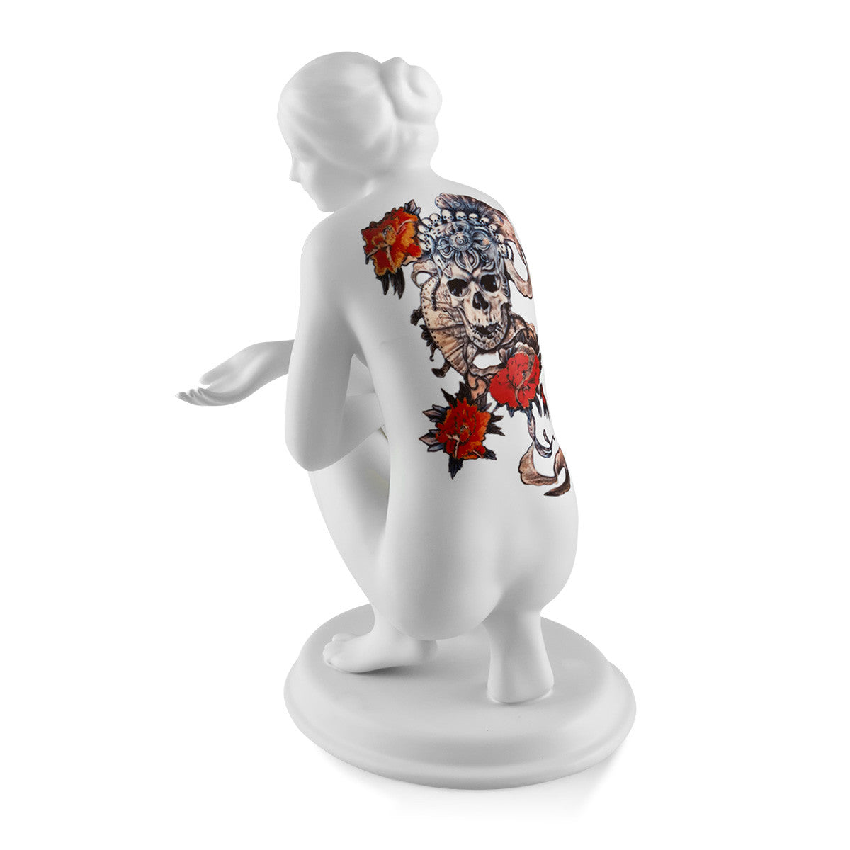 Ceramic porcelain woman with skull tattoo handmade in Italy
