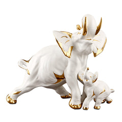 ceramic porcelain elephant finished in pure gold handmade in Italy