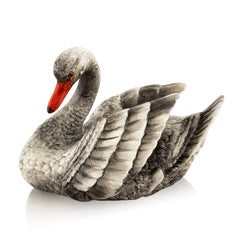 Hand Painted Italian Ceramic swan figurines-gifts for animals lovers-Country decor