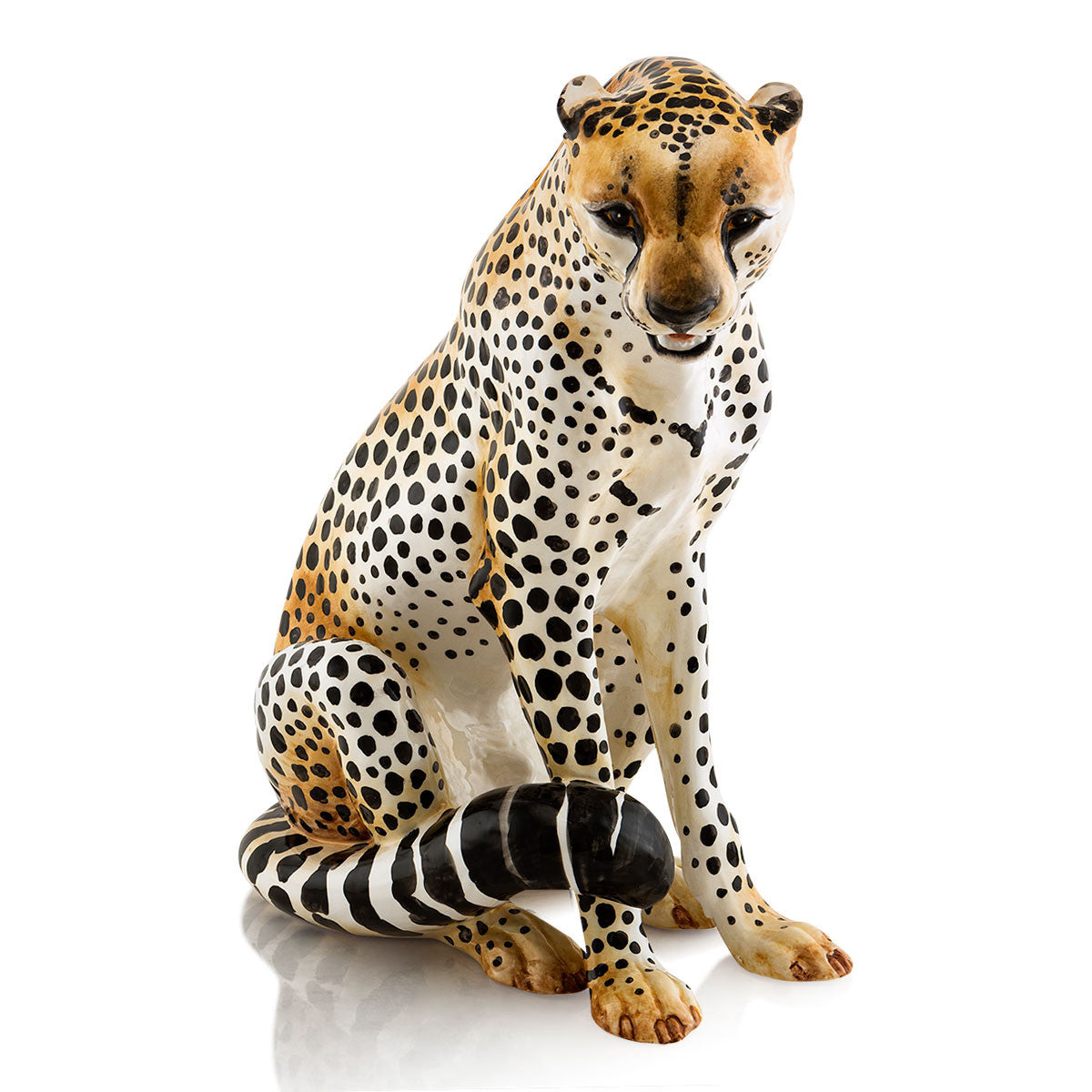 Ceramic sitting cheetah statue with lifelike details