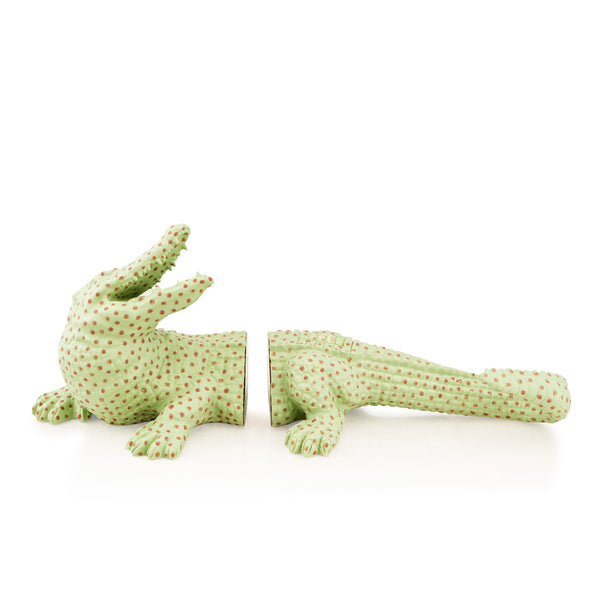 Ceramic alligator bookends - polka dots