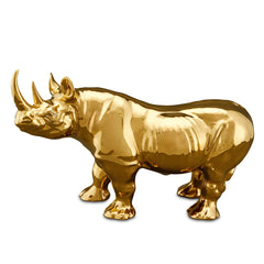 ceramic rhino statue-24kt gold-ceramic animal figurines