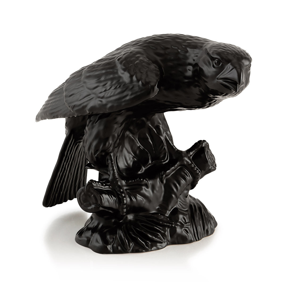 Ceramic black bald eagle statue