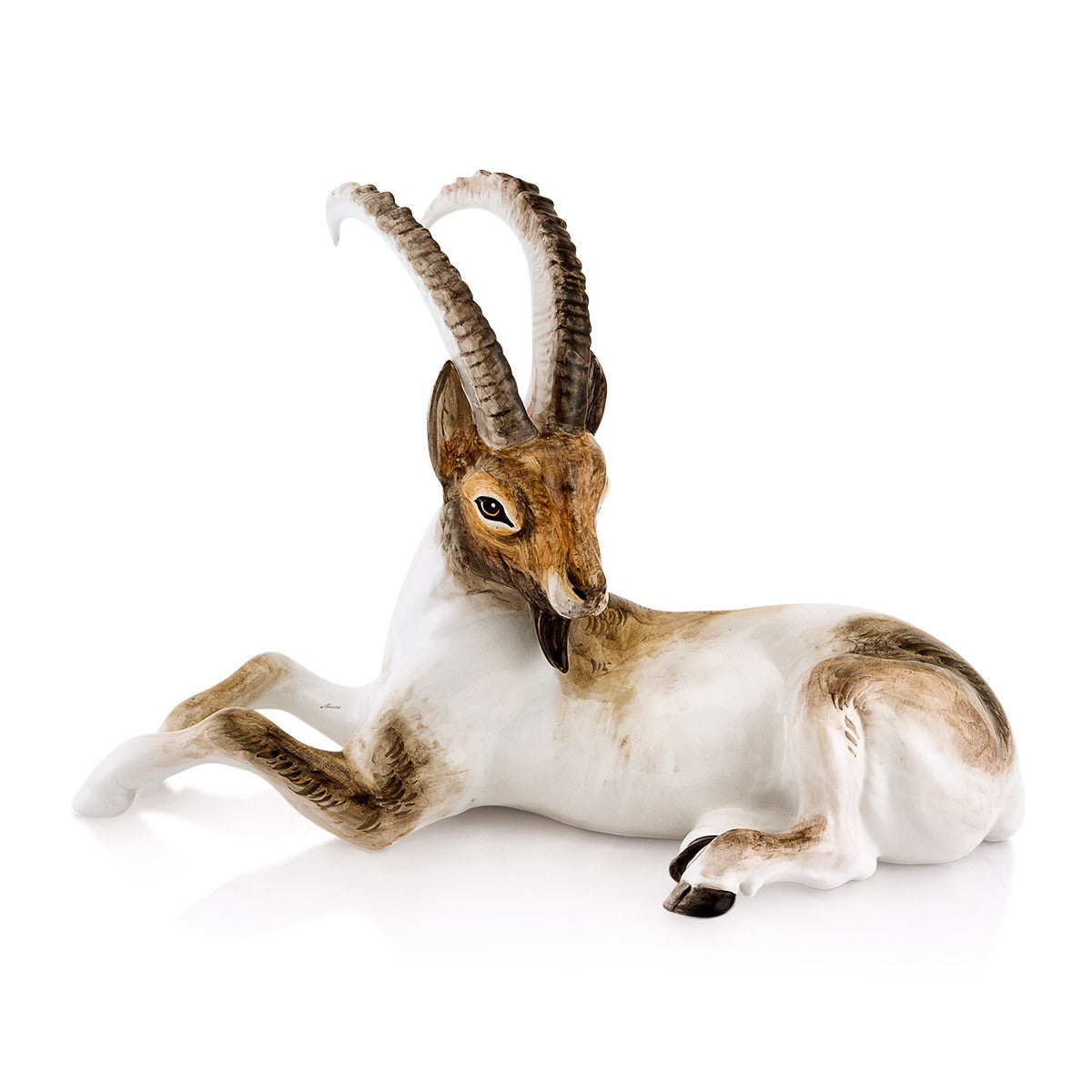 Ceramic ibex animal statue with life-like details
