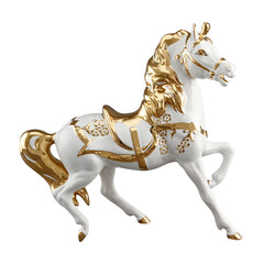 Ceramic carousel horse with gold decor