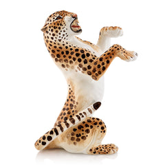 Ceramic leopard statue with lifelike details