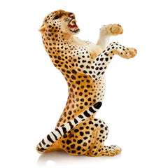 Hand Painted Italian Ceramics Leopard statue gift for animal lovers
