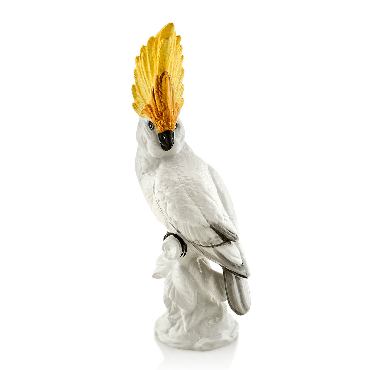 Ceramic Cockatoo figurine with gold accents