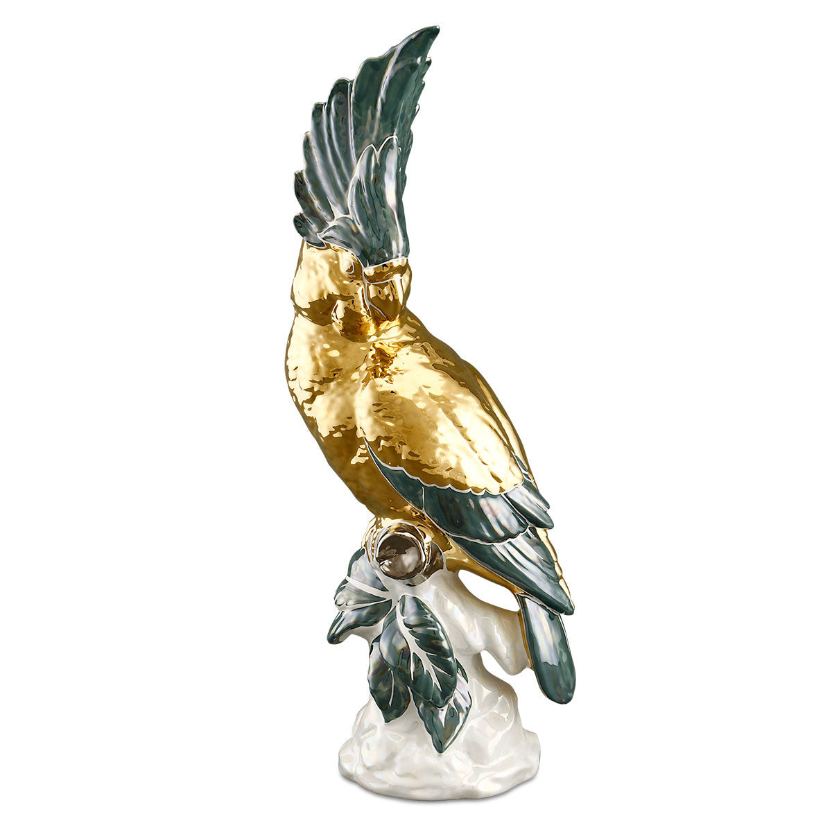 Parrot cockatoo ceramic porcelain hand-painted in green color and gold