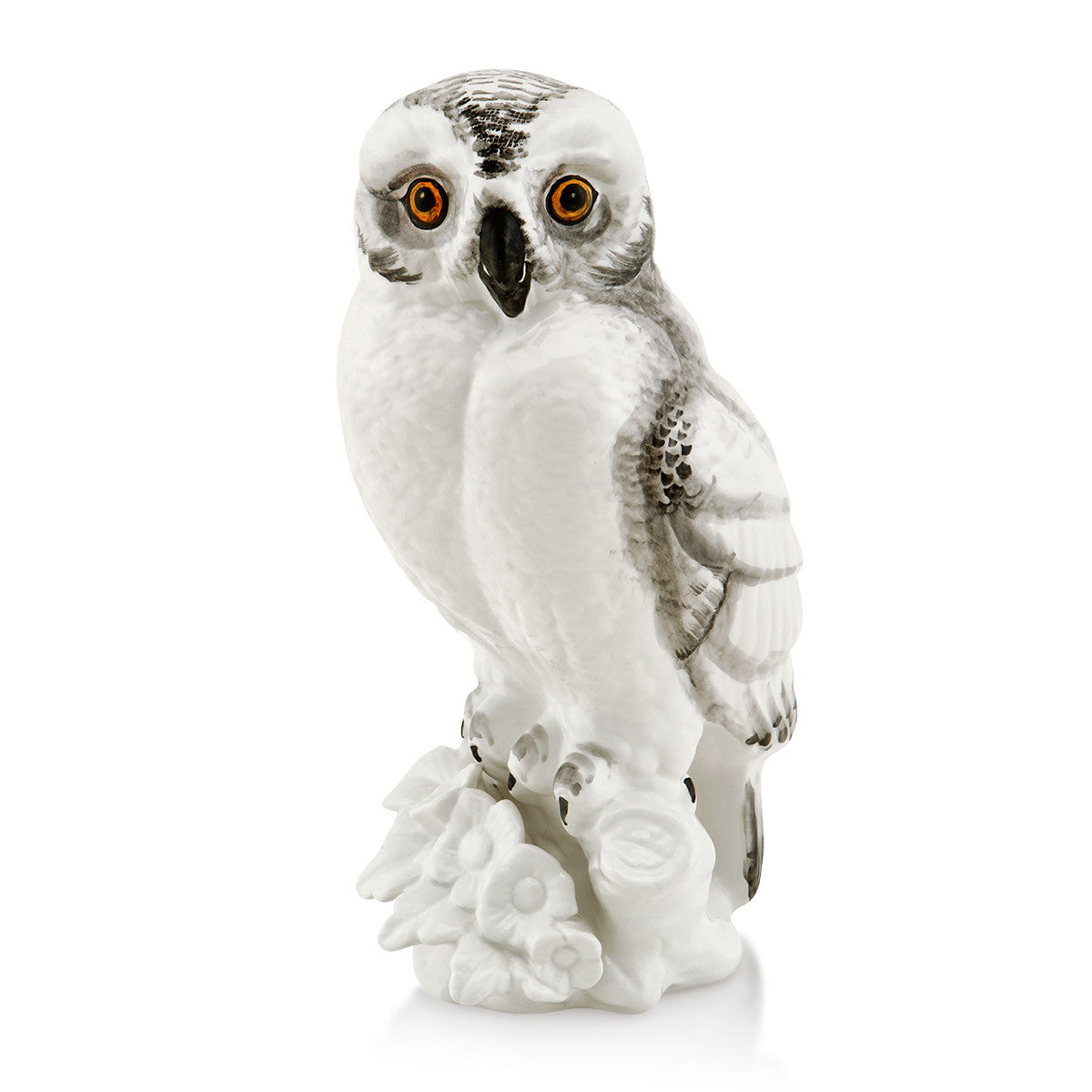 Hand-painted ceramic porcelain owl finished in natural colors handmade in Italy