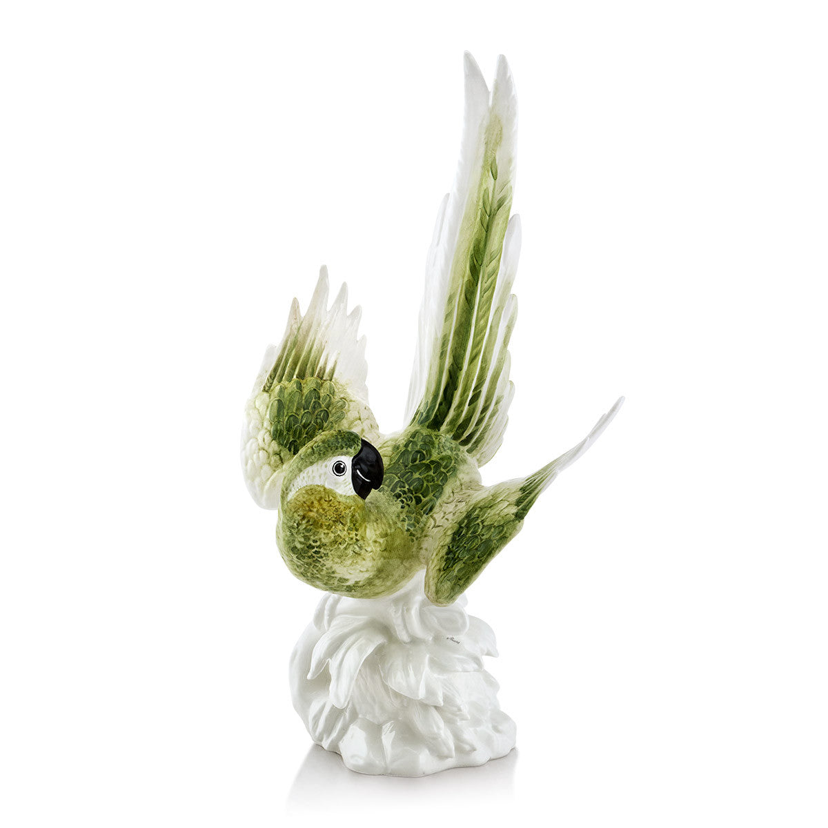 parrot ceramic porcelain finished in green natural color handmade in Italy