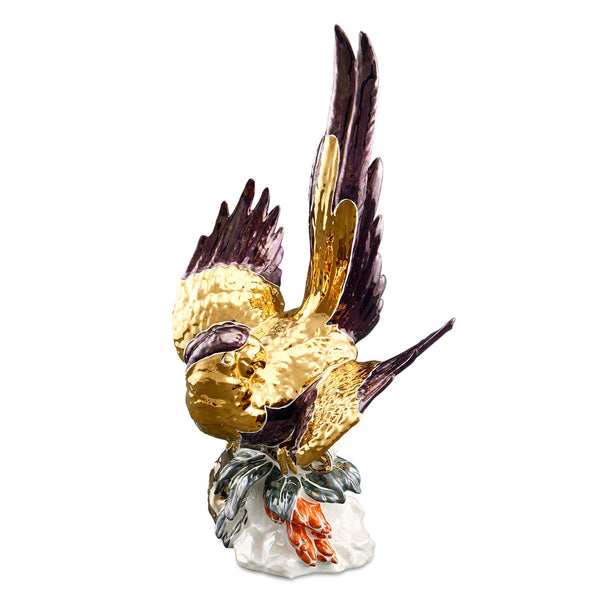 Ceramic parrot figurine with gold accents