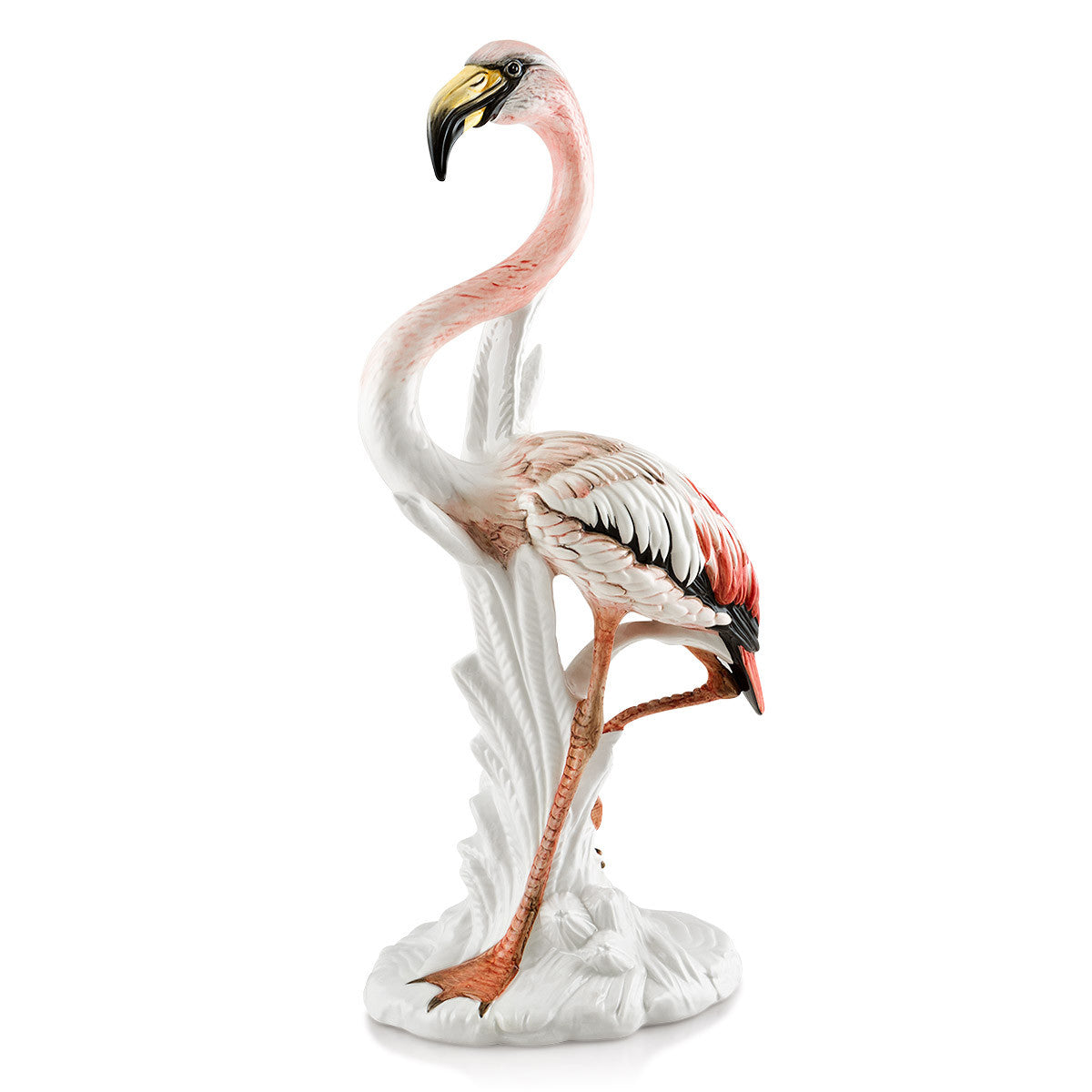 Ceramic big pink flamingo statue with life-like details