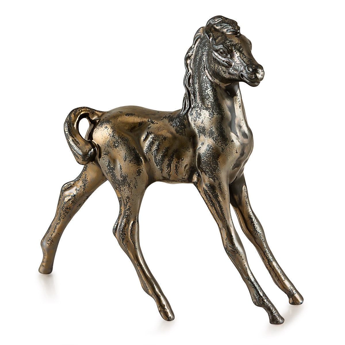 Ceramic little horse with burnished bronze finish