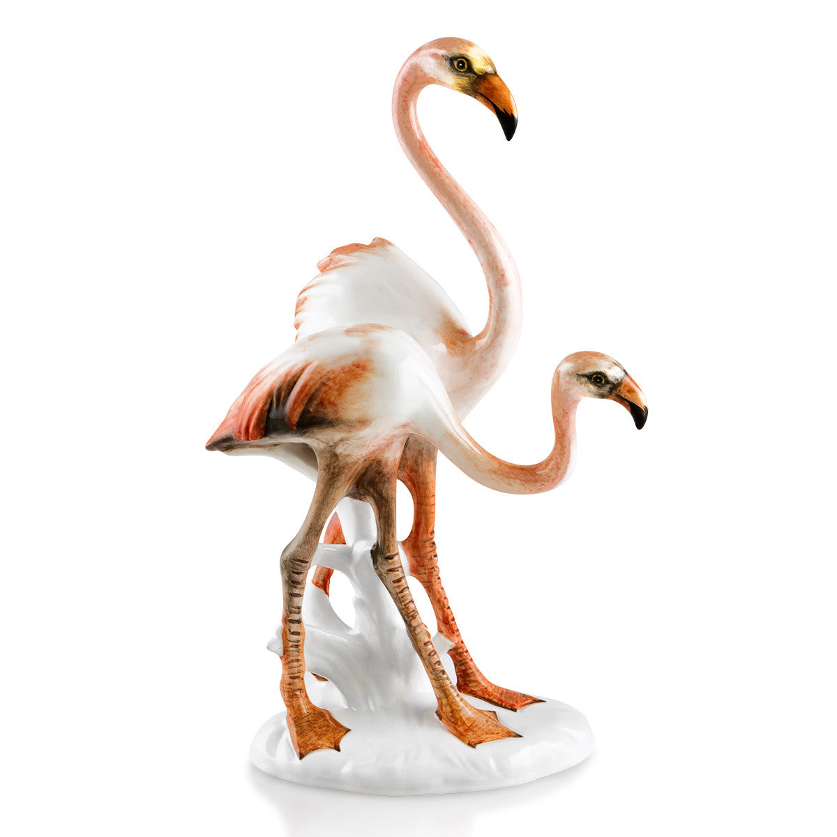 flamingos couple hand-painted ceramic porcelain finished in traditional color