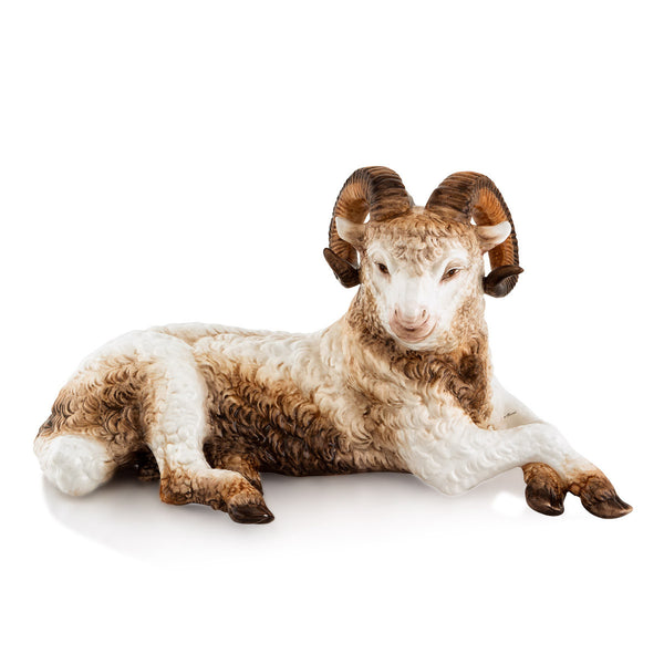 Ceramic ram sheep statue with life-like details
