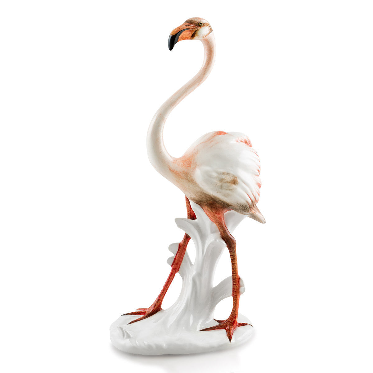 flamingo hand-painted ceramic porcelain finished in traditional color