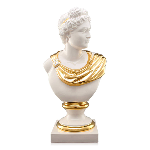ceramic porcelain Ivory Apollo bust finished in pure gold handmade in Italy