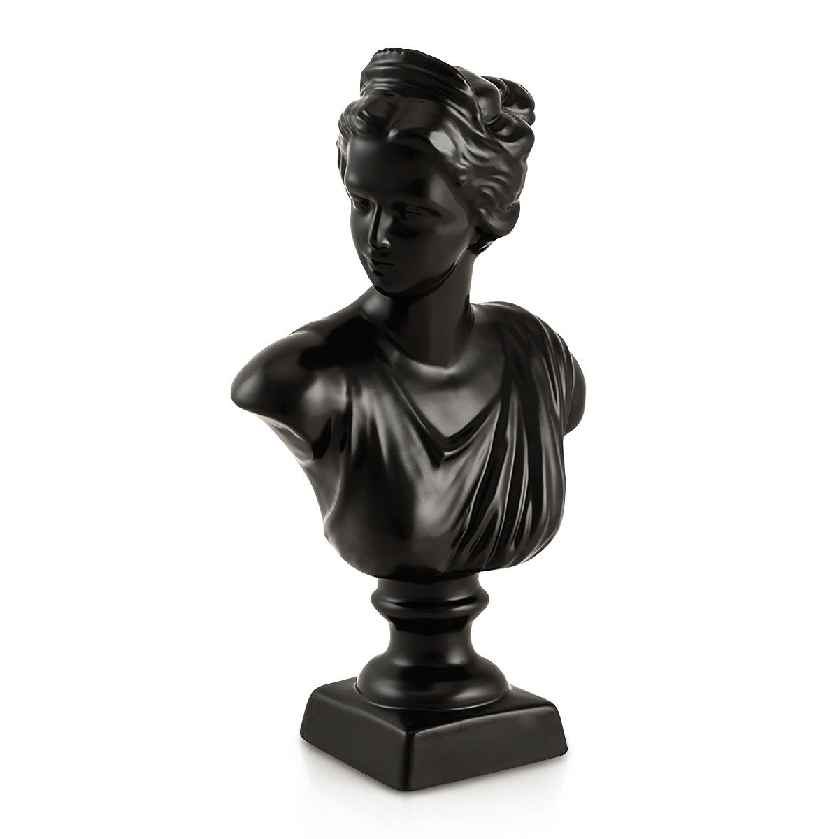 Hand-painted ceramic porcelain Venus bust finished in Black opaque color