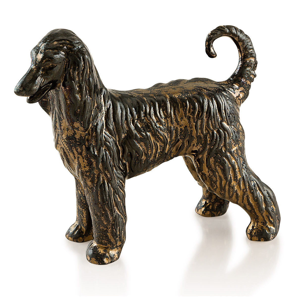Ceramic mini afghan hound in burnished bronze finish