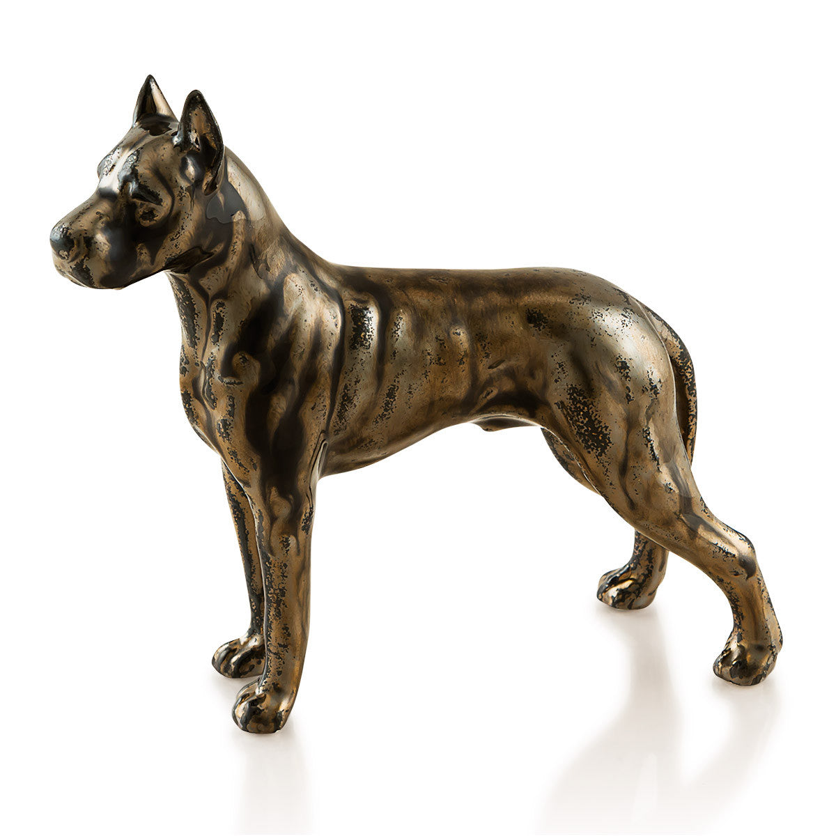 Ceramic mini boxer in burnished bronze finish