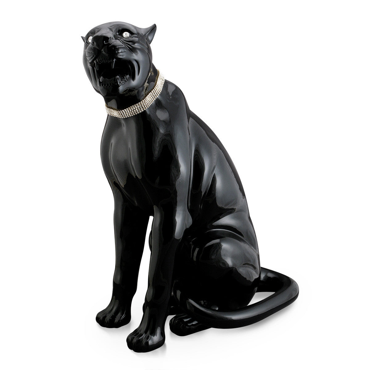 Hand Painted Italian Ceramic black panther statue-animal figurines-hotel lobby furniture